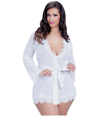 Oh La La Cheri Plus Size Eyelash Lace Robe Set