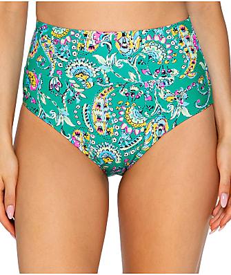 Sunsets Paradise Paisley Fold-Over High-Waist Bikini Bottom