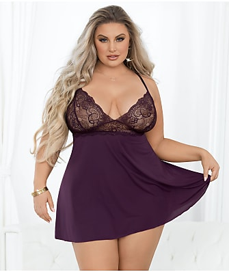 Escante Plus Size Satin & Lace Babydoll Set