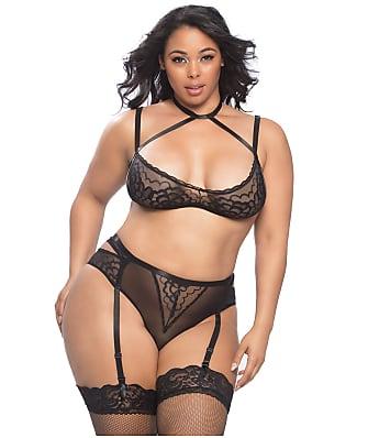 Oh La La Cheri Plus Size Smooth Lace Harness Bra & Garter Set