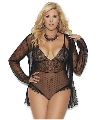 Elegant Moments Plus Size Polka Dot Teddy Set