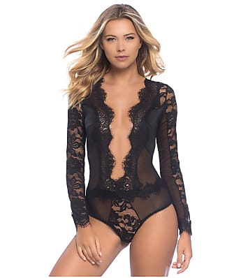 Oh La La Cheri Renata Eyelash Lace Plunge Bodysuit