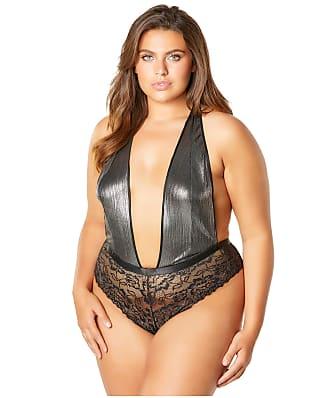 c01ff6f9564 Oh La La Cheri Plus Size Lynette Metallic Plunge Teddy
