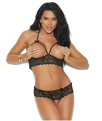 Elegant Moments Open Cup Bra & Crotchless Panty Set