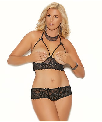 Elegant Moments Plus Size Open Cup Bra & Crotchless Panty Set