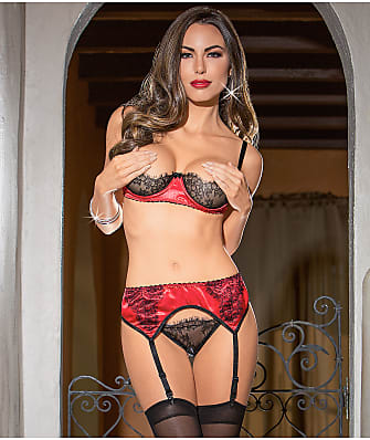 Escante Satin Bra And Garter Set
