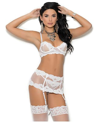 Elegant Moments Mesh Bra & Garter Set