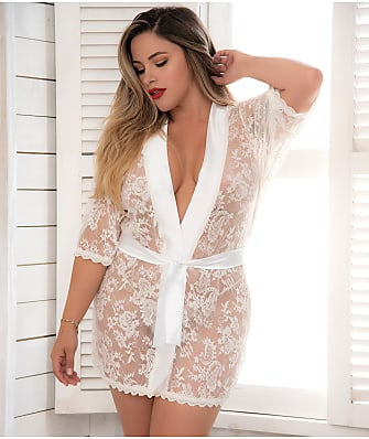 Mapalé Plus Size Lace Robe & G-String Set