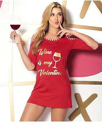 Mapalé Wine Is My Valentine Knit Sleep Shirt