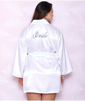 iCollection Plus Size Satin Bride Robe