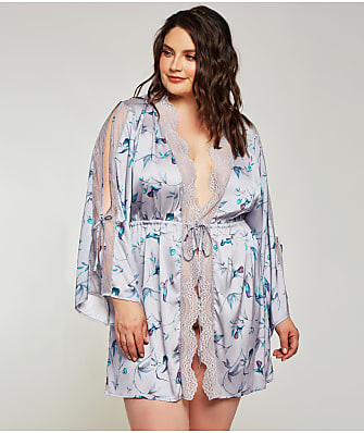 iCollection Plus Size Ivy Satin Robe