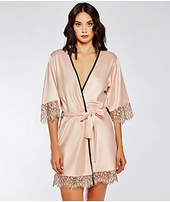 iCollection Satin Contrast Lace Robe