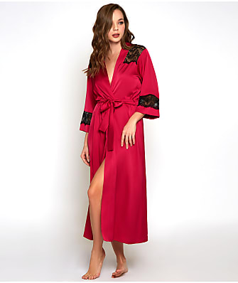 iCollection Tess Satin & Lace Long Robe