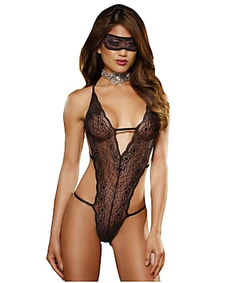 Dreamgirl Lace Teddy And Eyemask Set