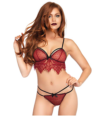 Leg Avenue Swiss Dot Wire-Free Cage Bra Set