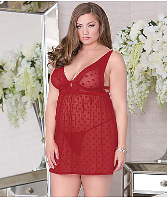 iCollection Plus Size Dot Mesh And Lace Babydoll Set