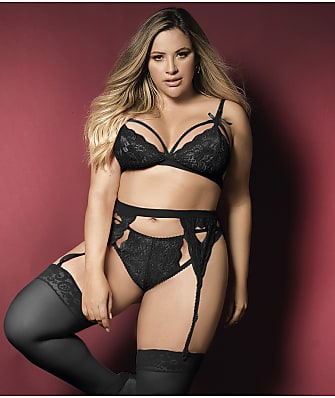 Mapalé Plus Size Cage Lace Wireless Bra & Panty Set