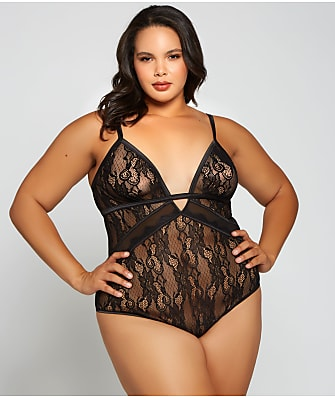 iCollection Plus Size Camellia Lace Teddy
