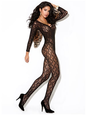 Elegant Moments Long Sleeve Crotchless Lace Bodystocking