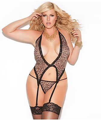 Elegant Moments Plus Size Animal Garter Chemise Set