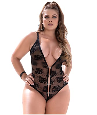 Mapalé Plus Size Hook & Eye Crotchless Teddy
