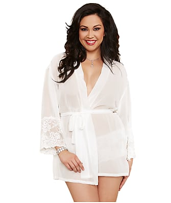 Dreamgirl Plus Size Chiffon and Lace Robe Set