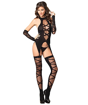 Leg Avenue Sheer Lace-Up Wire-Free Garter Set