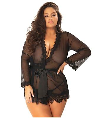 Oh Là Là Chéri   Plus Size Provence Eyelash Lace Robe Set