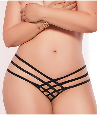 Seven 'til Midnight Criss Cross Crotchless Thong Plus Size