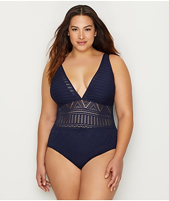 Anne Cole Signature Plus Size Crochet All Day Plunge One-Piece
