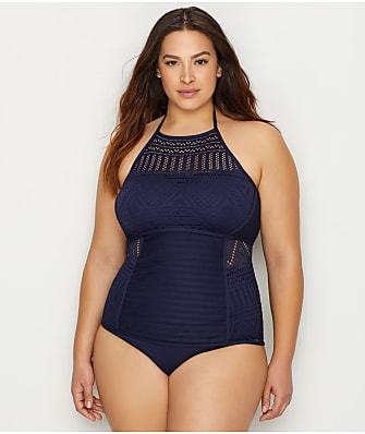 Anne Cole Signature Plus Size Crochet All Day Tankini Top