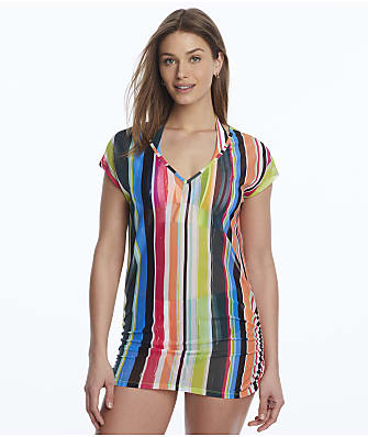 Anne Cole Signature Clear Water Stripe Mesh Cover-Up