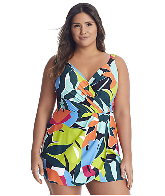 Anne Cole Signature Plus Size Polynesian Palm Swim Dress