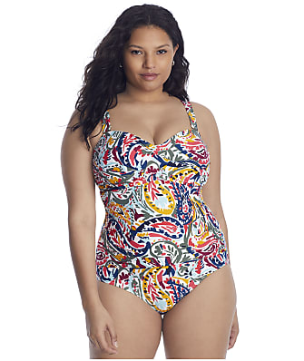 Anne Cole Signature Plus Size Watercolor Paisley Banded One-Piece
