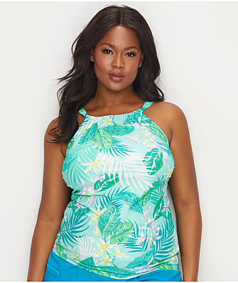 Beach House Plus Size Palm Tropical Wire-Free Tankini Top