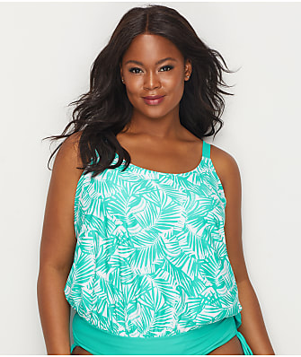 Beach House Plus Size Cape Palm Blouson Tankini Top
