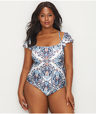 BECCA ETC Plus Size Naples Off-The-Shoulder Wire-Free One-Piece