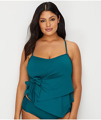 BECCA ETC Plus Size Color Code Multi-Way Tankini Top