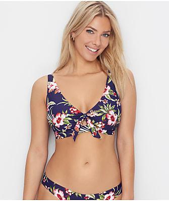 Birdsong Hibiscus Bloom Tie Front Bikini Top