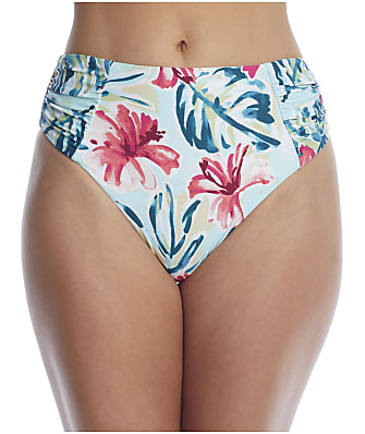 Birdsong Aloha Ruched High-Waist Bikini Bottom