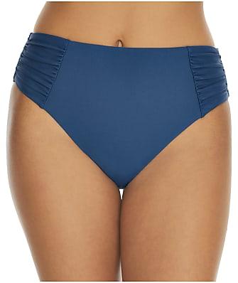 Birdsong Deep Ocean Ruched High-Waist Bikini Bottom