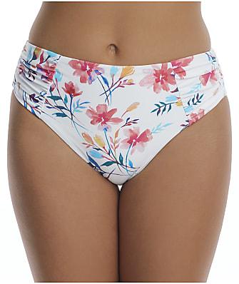 Birdsong Fleur Ruched High-Waist Bikini Bottom