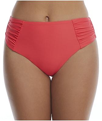Birdsong Ginger Ruched High-Waist Bikini Bottom