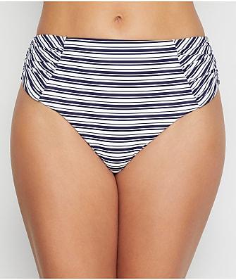 Birdsong Newport Stripe Ruched High-Waist Bikini Bottom