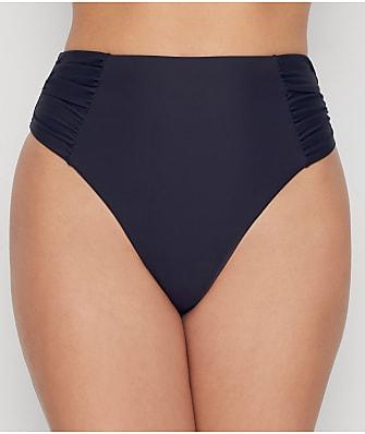 Birdsong Onyx Ruched High-Waist Bikini Bottom