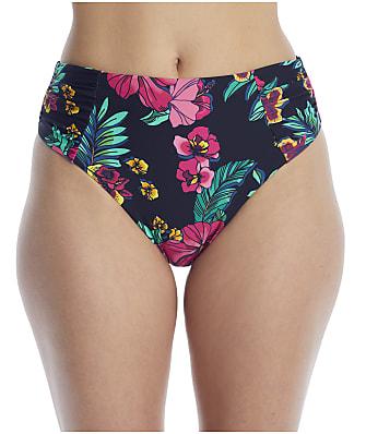 Birdsong Polynesian Floral Ruched High-Waist Bikini Bottom