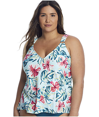 Birdsong Plus Size Aloha Flyaway Underwire Tankini Top