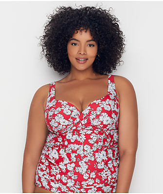 Birdsong Plus Size Daydreamer Shirred Tankini Top