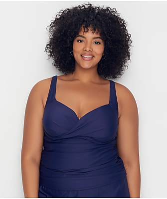 Birdsong Plus Size Midnight Shirred Tankini Top