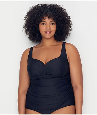 Birdsong Plus Size Onyx Shirred Tankini Top